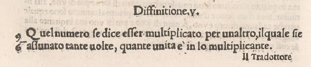 1543 Tartaglia multiplication definition from Euclid's Elements