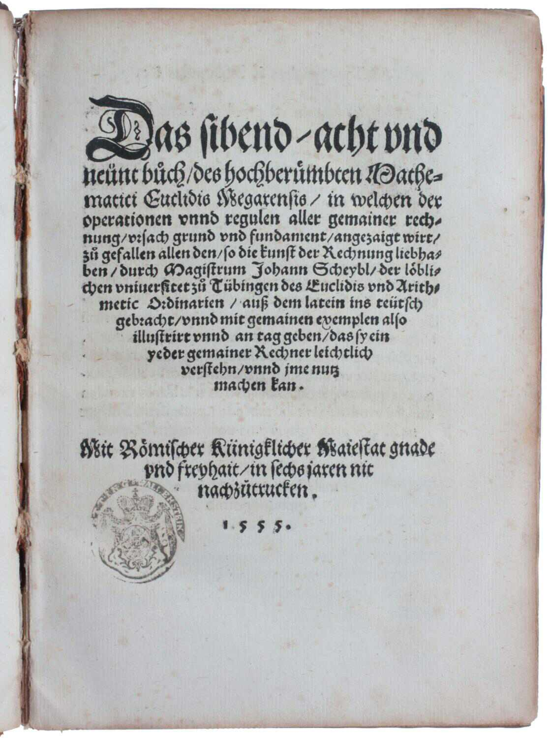 The Seventh Eighth and Ninth Books of Euclid's Elements Title Page
