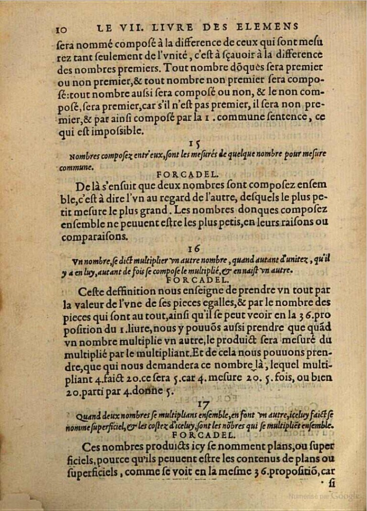 Pierre Forcadel's Translation of Euclid's Definition of Multiplication #16