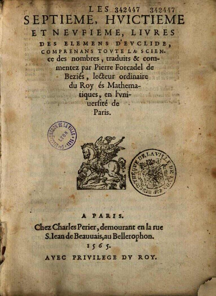 Pierre Forcadel's Euclid's Elements Books VII, VIII and IX Title Page